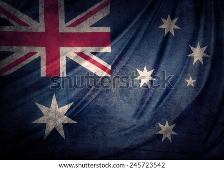 Closeup of grunge Australian flag  - stock photo