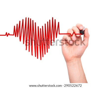 Closeup of hand drawing  heart beat in heart shape with stethoscope isolated on white background. Preventive medicine concept - stock photo
