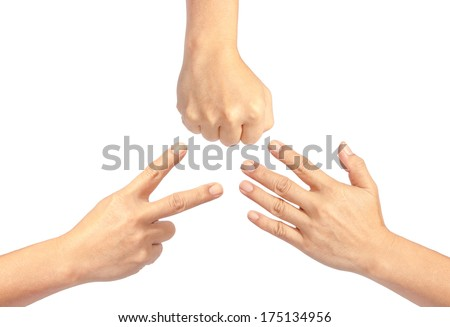 Closeup of hands making sign as rock  paper and scissors  - stock photo