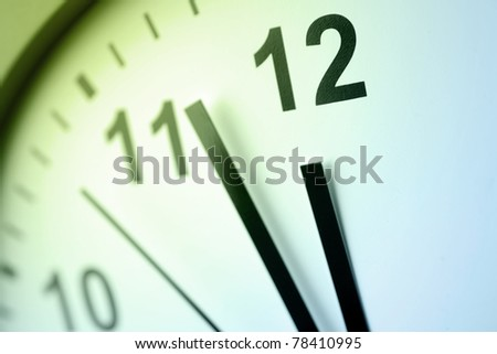 Closeup of hands on clock face