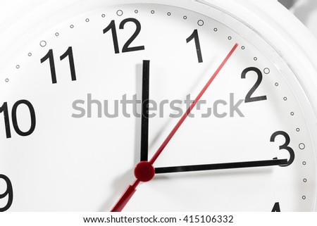 Closeup of hands on clock face.sensitive focus - stock photo