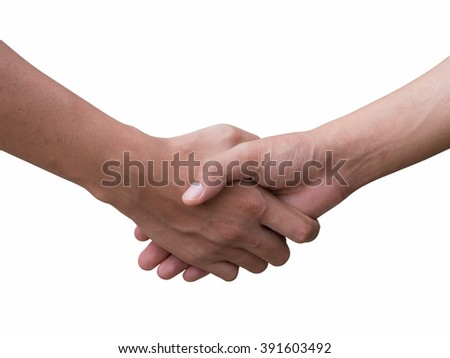 Closeup of Handshake, Shaking hands of two male people with white background