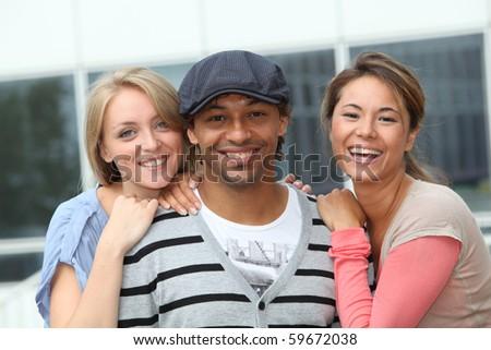 Closeup of happy friends - stock photo