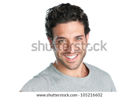 Closeup of happy smiling guy looking at camera isolated on white background - stock photo