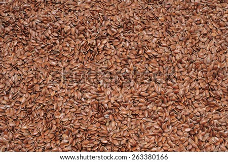 closeup of healthy brown flax seeds