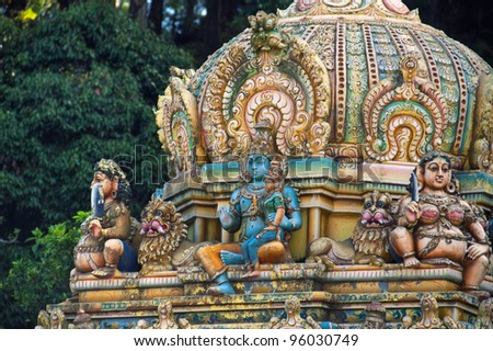 Closeup of Hindu temple in Matale, Sri Lanka. - stock photo