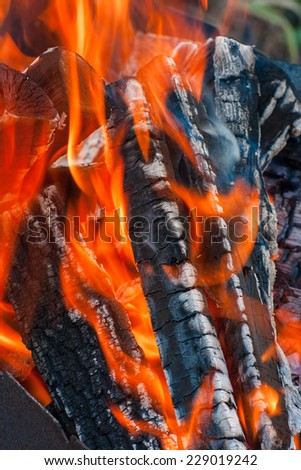 Closeup of hot fire with gray firewood coals. - stock photo