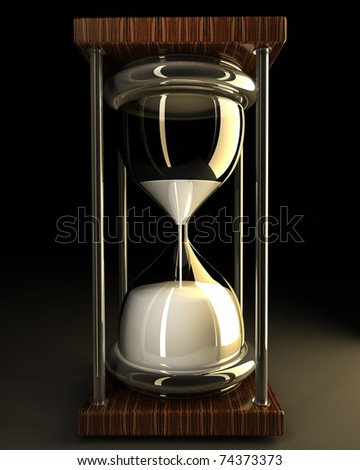 closeup of hourglass in warm on black background 3d render - stock photo