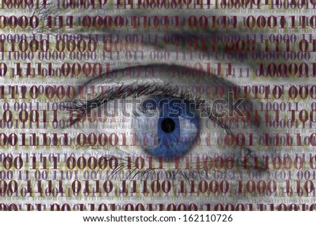 Closeup of human eye with digital binary code. Concept of internet spying. - stock photo