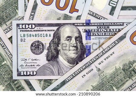 closeup of hundred american dollars banknotes - stock photo
