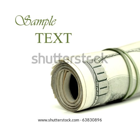 Closeup of hundred dollar bills in a pile - stock photo