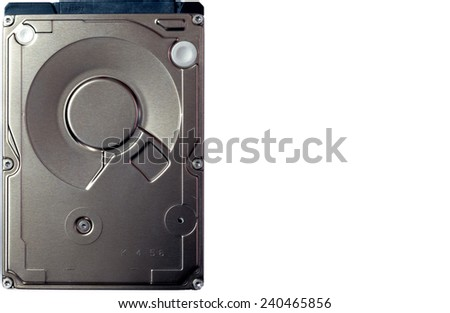 Closeup of internal 2.5-inch SATA HDD. With copy space. - stock photo