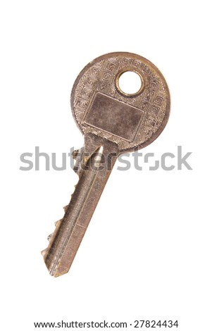 Closeup of key isolated on white with clipping path