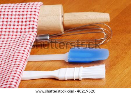 closeup of kitchen baking utensils - stock photo