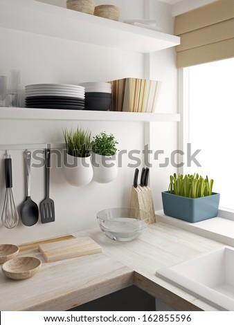 Closeup of kitchen room design - stock photo