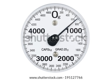 closeup of kitchen scale isolated - stock photo