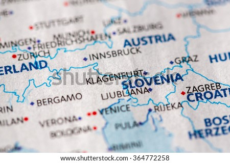 Closeup Klagenfurt Austria On Political Map Stock Photo 364772258