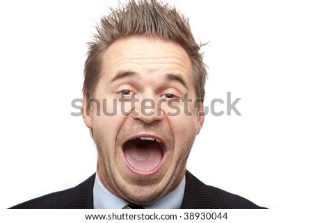 Closeup of laughing businessman. Isolated on white background - stock photo