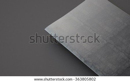 Closeup of leather cover on textbook, gray background. 3d render - stock photo