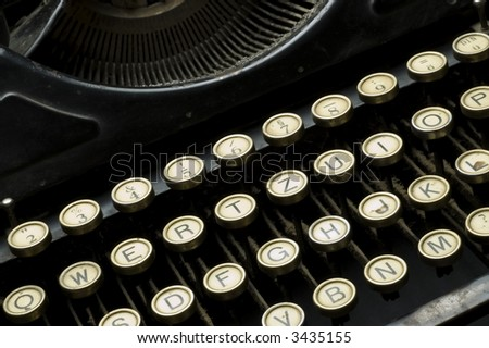 Closeup of letter and signs on old typewriter
