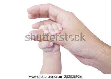Closeup of little baby hand holding father finger, isolated on white background - stock photo