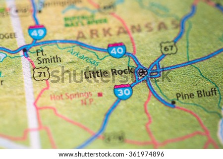 Closeup of Little Rock on a geographical map. - stock photo