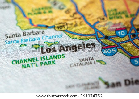 Closeup of Los Angeles on a geographical map. - stock photo