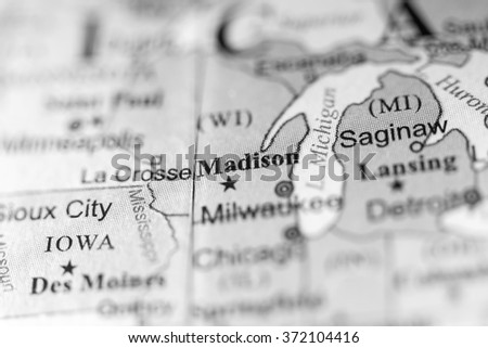 Closeup of Madison, Wisconsin on a political map of USA. - stock photo