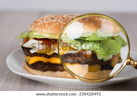 Closeup of magnifying glass examining burger in plate - stock photo