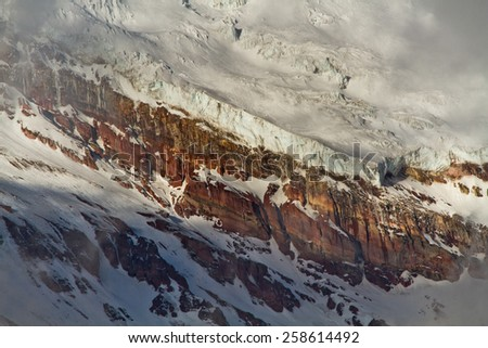Closeup of majestic Chimborazo volcano in the Andes, the highest mountain of Ecuador - stock photo