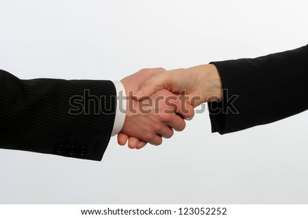 closeup of male and female executives shake hands on deal