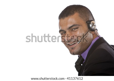 Closeup of male call center agent expressing positivity. Isolated on white - stock photo