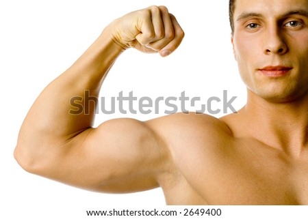 Closeup of male flexed arm and face. Isolated on white in studio. - stock photo