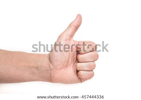 Closeup of male hand showing thumbs up on white background