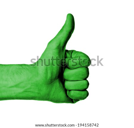 Closeup of male hand showing thumbs up sign against white background, green skin - stock photo
