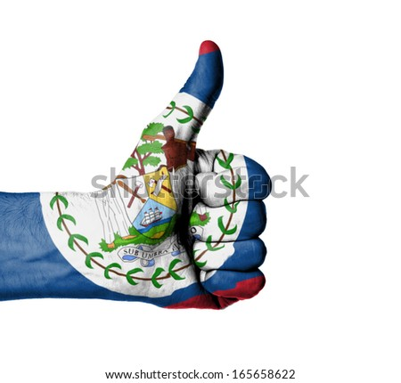 Closeup of male hand showing thumbs up sign, flag of Belize - stock photo