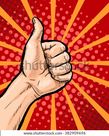 Closeup of male hand showing thumbs up sign on pop art background. Pop Art poster. Pop Art background. isolated, message, support, symbol, surprise, discount, positivity, sign, sale, vintage, wow, yes - stock photo