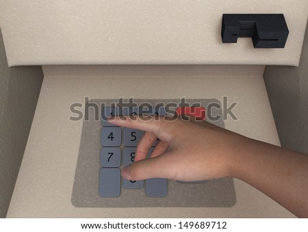 Closeup of man's hand entering PIN code on ATM machine keypad, 3D digital render
