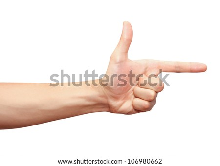 Closeup of mans hand with pointing finger - stock photo