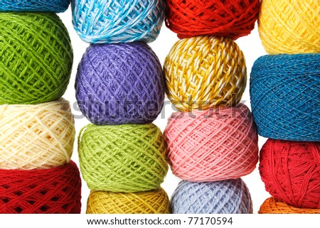 closeup of many multicolored clews, isolated - stock photo
