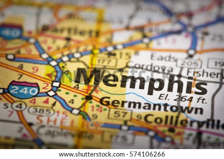 Closeup Nashville Tennessee On Road Map Stock Photo - Tennessee road map