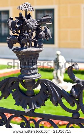 closeup of metal ornament in schonbrunn park - stock photo