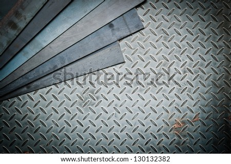 Closeup of metal sheet and metal diamond plate, texture background - stock photo