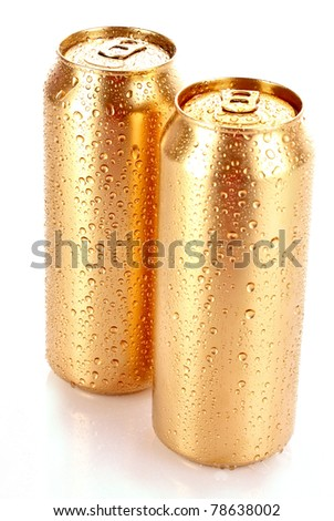 Closeup of metallic beer with water drops isolated on white - stock photo