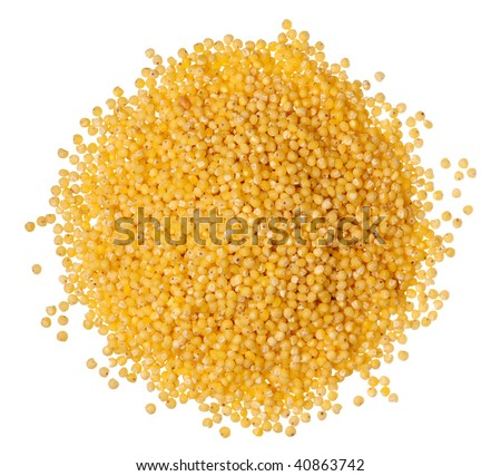 Closeup of millet heap isolated on white