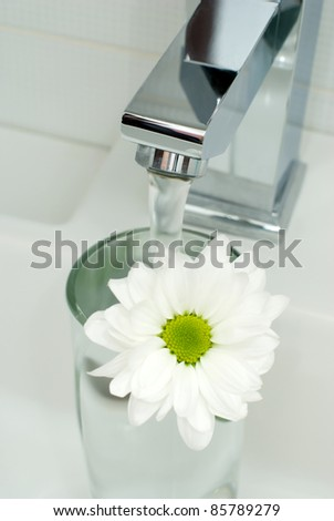 Closeup of modern bathroom tap with flower - stock photo