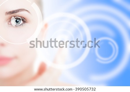 Closeup of modern cyber eye with visual laser system as retina secure access concept for identity protection - stock photo