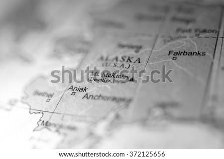 Closeup of Mount Mckinley, Alaska on a political map of USA. - stock photo