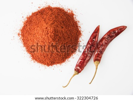 Closeup of mountain of chilly powder with 2 red chillies besides, isolated on white background, horizontal and top view - stock photo
