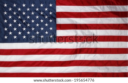Closeup of new American flag - stock photo